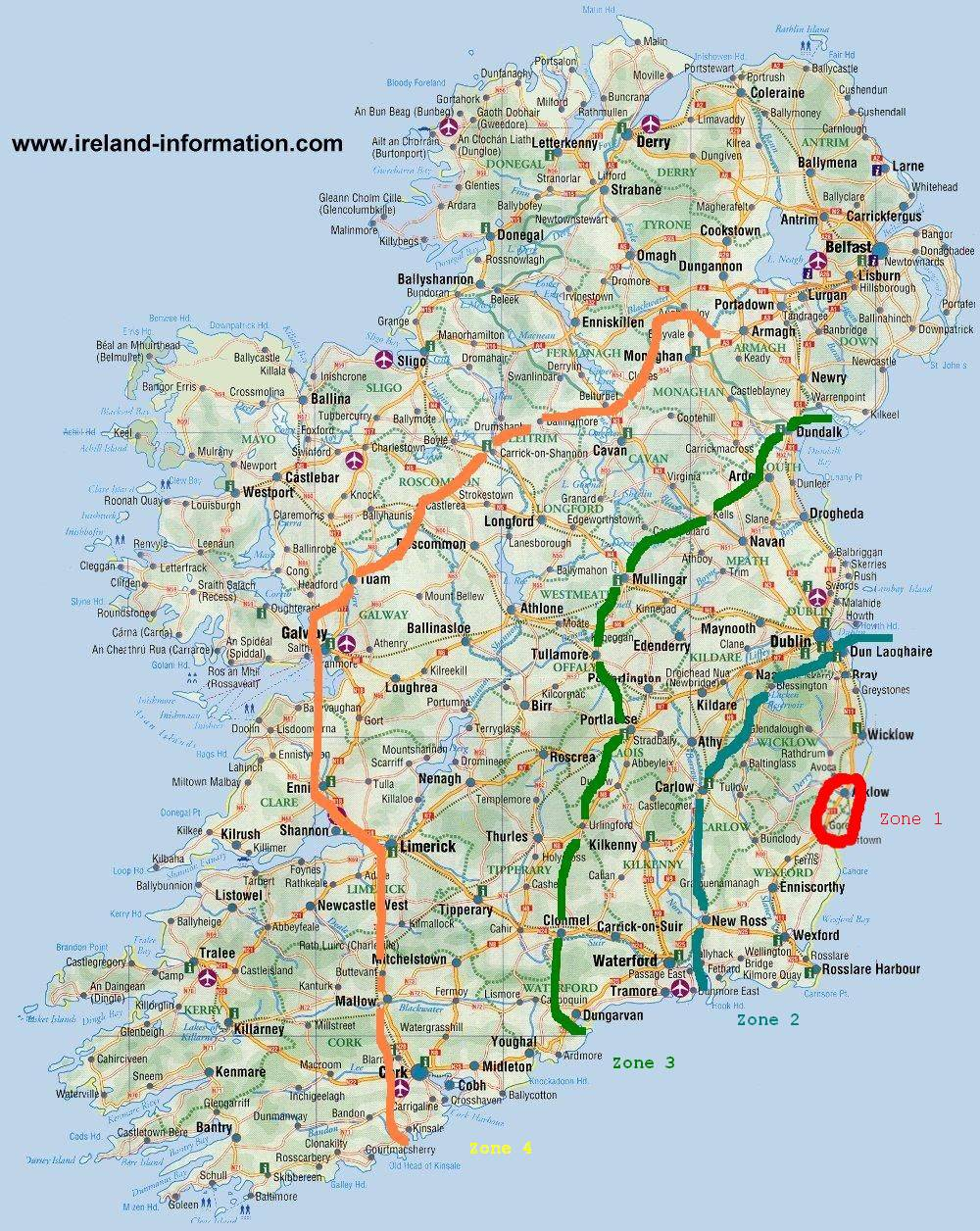 map of our travel zones in Ireland, thanks to www.ireland-information.com